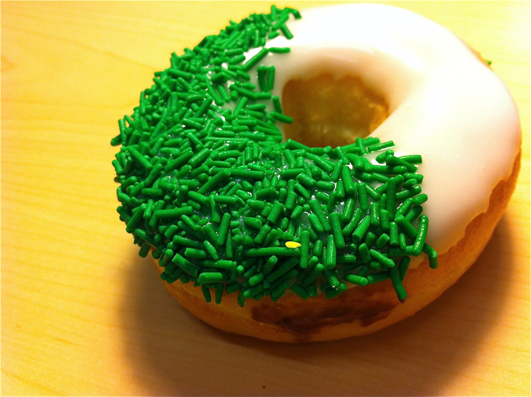 Mmmm... Donut with green sprinkles. My fav!